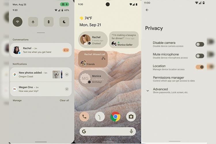 Скриншоты интерфейса Android 12