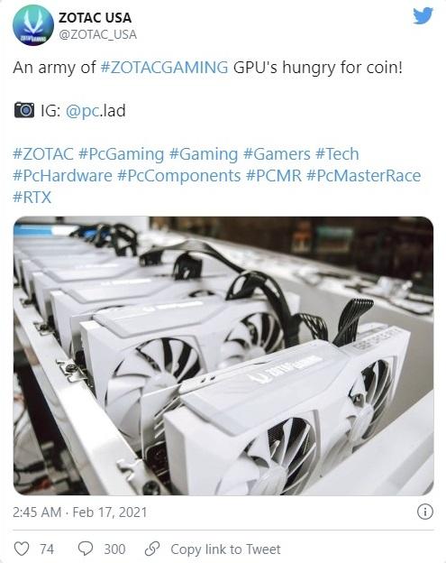 """Zotac публично поддержала майнинг криптовалют, но одумалась после гнева геймеров"""""""