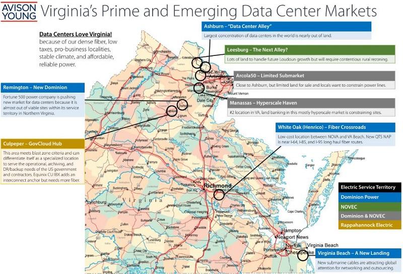 Кластеры дата-центров в Виргинии, США (Источник: Data Center Knowledge)
