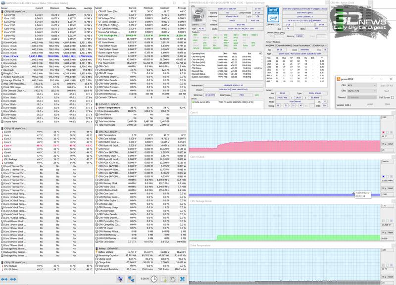 Режим работы от аккумулятора (1,7 ГГц, 18 Вт, 48 °C)