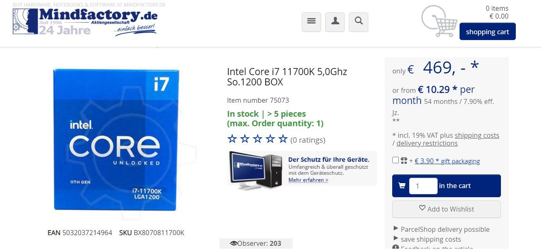 Intel Core i7-11700K (Rocket Lake-S) уже можно купить в Германии, но по завышенной цене
