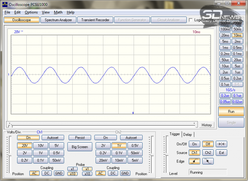Форма сигнала при питании от батарей (нагрузка 300 Вт)