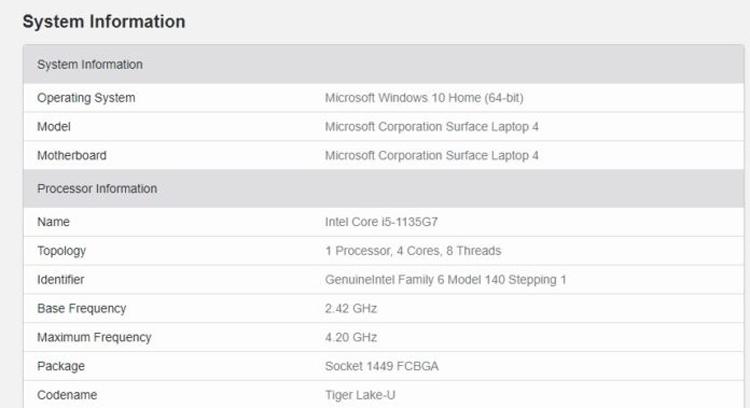 Грядущий ноутбук Microsoft Surface Laptop 4 отметился в GeekBench с чипами AMD и Intel