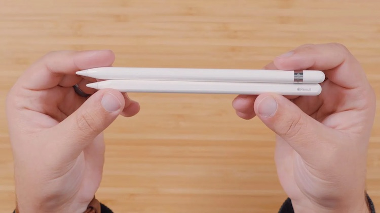 Apple Pencil первого (сверху) и второго (снизу) поколений