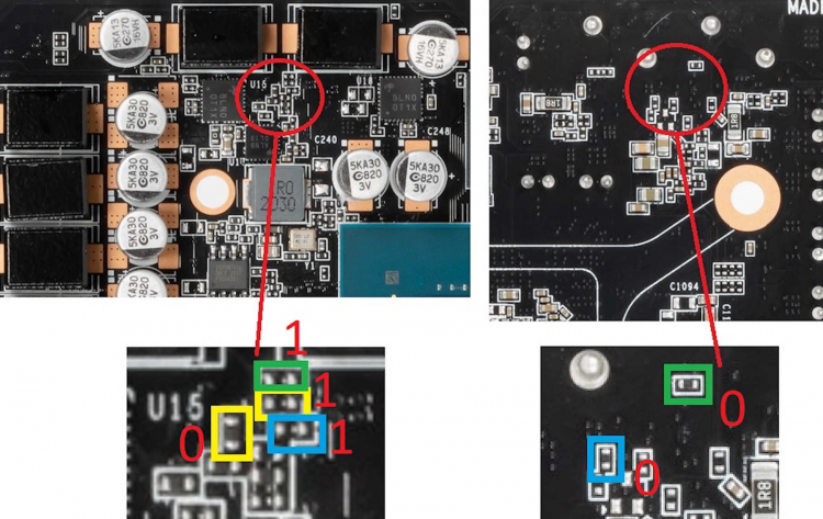 Конфигурация страпов GeForce RTX 3070 для поддержки 16 Гбайт видеопамяти