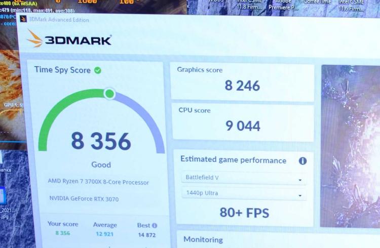 Результат GeForce RTX 3070 с 16 Гбайт GDDR6 в Time Spy и майнинге (ниже) до внесения правок