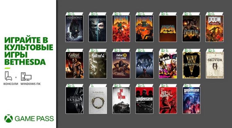 Завтра в Xbox Game Pass для ПК и Xbox войдут 20 игр Bethesda Softworks