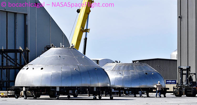 Купол бака Starship слева от купола BN1 (NASASpaceflight | bocachicagal)