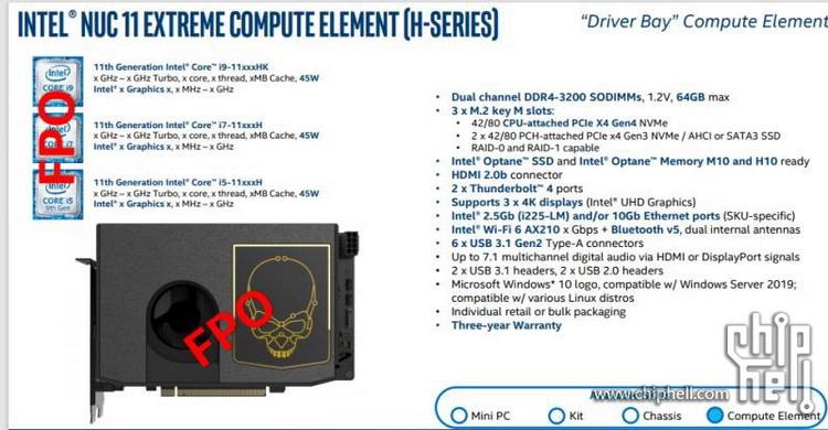 """Intel выпустит вычислительные модули NUC 11 Compute Element на базе процессоров Tiger Lake-H"""""""