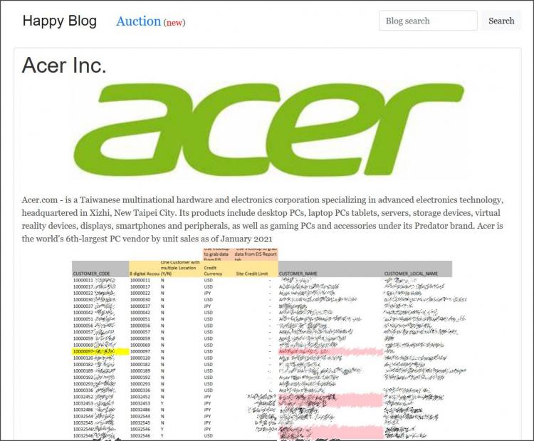 Скриншот одного из финансовых документов Acer, оказавшегося в руках хакеров REvil