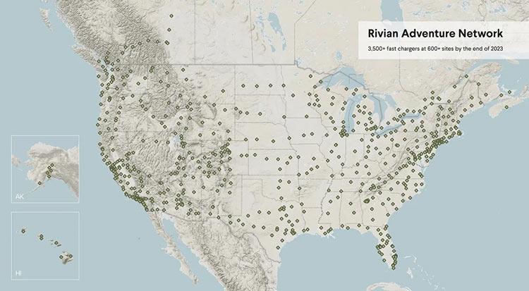 К 2023 году Rivian установит в США и Канаде 10 000 зарядных станций для своих электрокаров