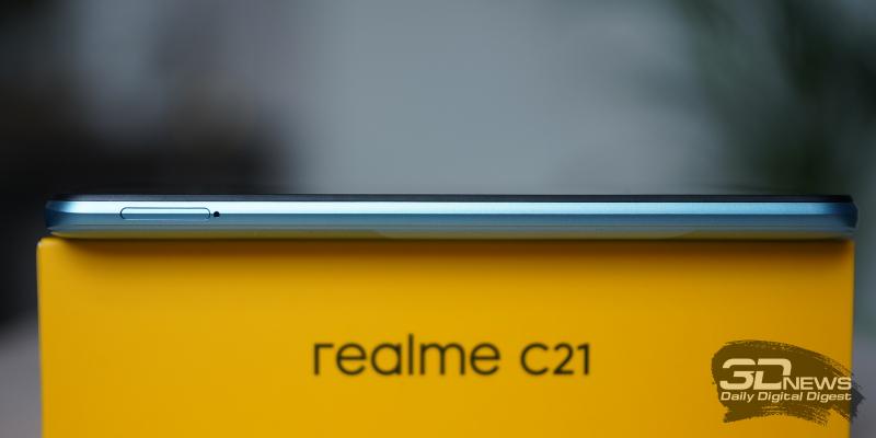 realme C21, левая грань: слот для карточек