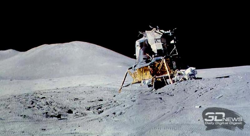 Посадка LM на слабо изученной местности могла закончиться плохо. На фото — лунный модуль корабля Apollo 15 на склоне кратера. Фото NASA