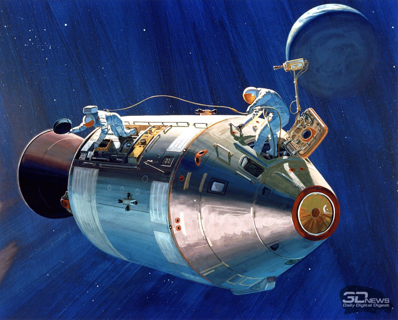 Астронавты Альфред Уорден и Джеймс Ирвин извлекают кассету с фотопленкой из отсека SIM командно-служебного модуля корабля Apollo 15. Рисунок NASA https://picryl.com/media/artist-concept-astronaut-wordens-extravehicular-activity-eva-apollo-xv-2e976b