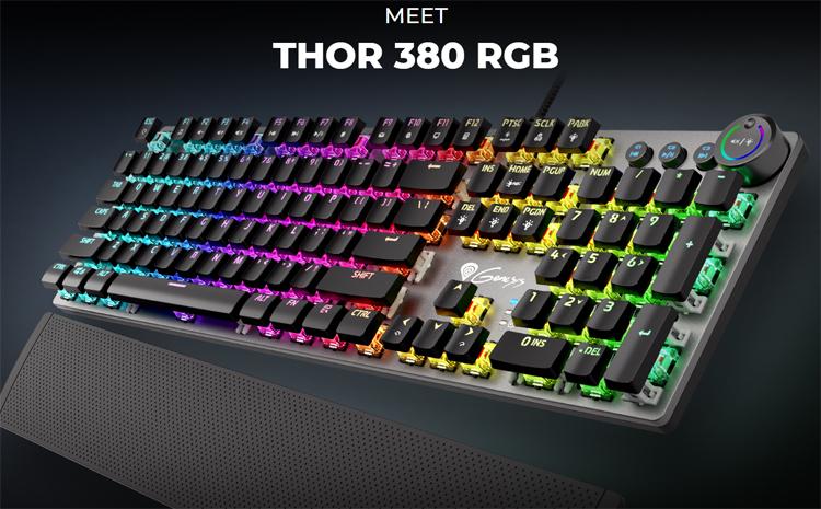 """Genesis представила механические клавиатуры Thor 380 и Thor 400 с поворотным регулятором и RGB-подсветкой"""""""
