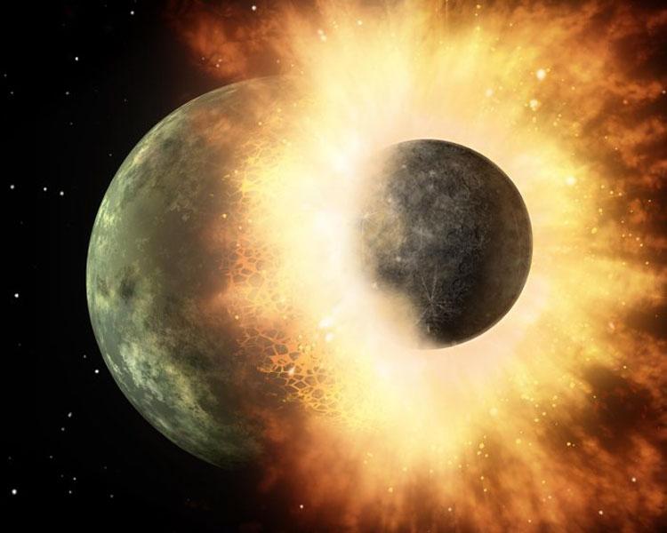 Столкновение Земли и Тейи в представлении художника. Источник изображения: NASA/JPL-Caltech