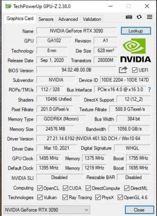 Спецификации перемаркированного в GA102-300 чипа NVIDIA GA102-250