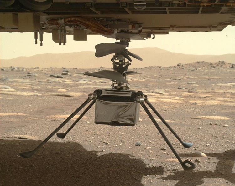 Марсианский вертолёт NASA полностью развёрнут под ровером и готов к высадке