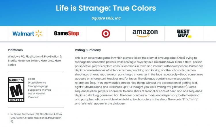 На сайте рейтинговой организации ESRB заметили упоминание Switch-версии Life is Strange: True Colors