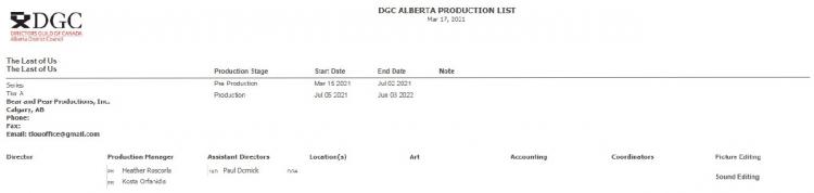 Скриншот с информацией о сериале The Last of Us в документации на сайте Гильдии режиссёров Канады