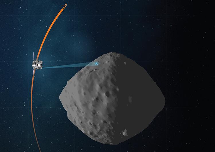 Планируемый на 7 апреля маршрут полёта OSIRIS-REx у Бенну (NASA|Goddard|University of Arizona)