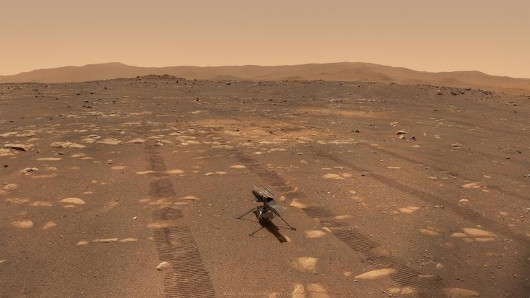 """Опубликован автопортрет марсохода «Настойчивость»на фоне марсианского вертолёта«Изобретательность»"""""""