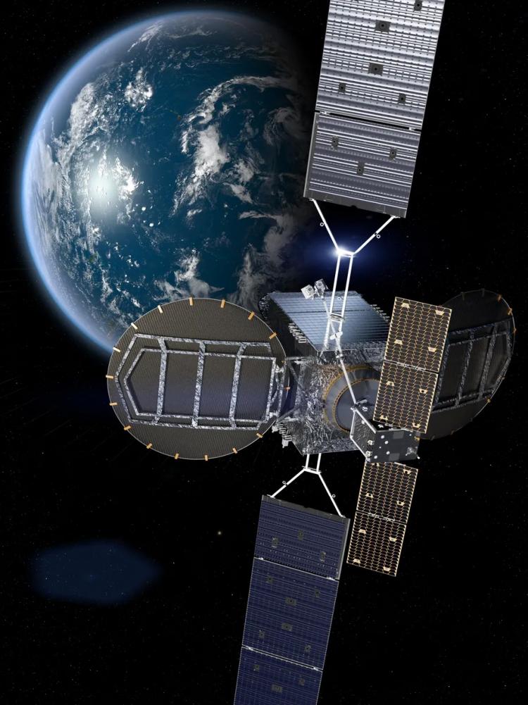 Художественное представление сервисного аппарата MEV-2, пристыкованного к клиентскому спутнику