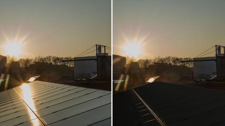 Слева — обычная солнечная панль, справа — панель, покрытая новой антибликовой плёнкой. Источник изображения: Andrea Fabry; Editing by Phytonics