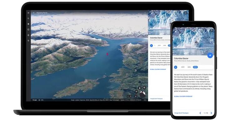 В сервисе Google Планета Земля появились 3D-демонстрации последствий климатических изменений за последние 36 лет