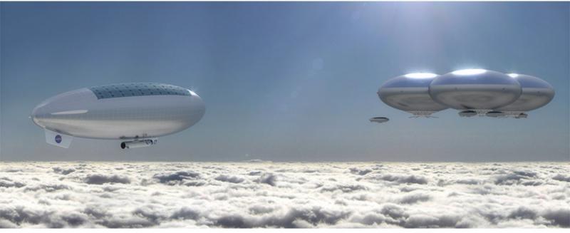 Аэростатные «острова» и дирижабли в небе Венеры в представлении художника. Графика NASA