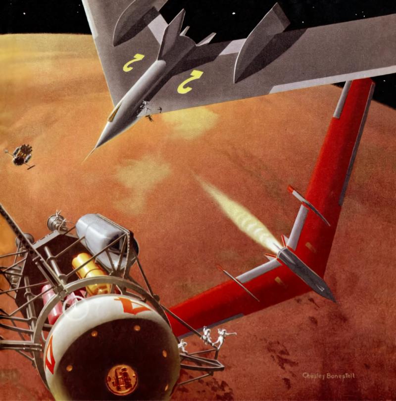 Крылатые ракетные корабли фон Брауна для спуска на Марс. Картина Чесли Бонстилла, иллюстрация из журнала Collier's
