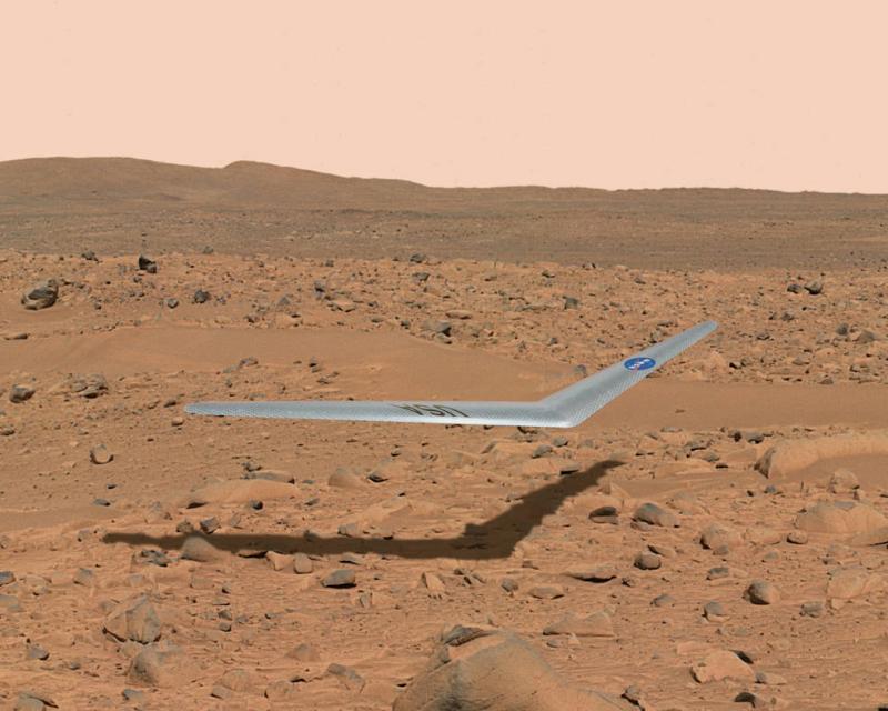 Один из вариантов аппарата для полета в атмосфере Марса - планер Prandtl. Графика NASA