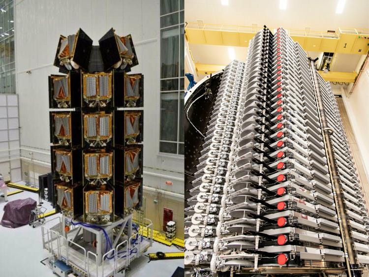 36 готовых к запуску спутников OneWeb (слева) и 60 — SpaceX Starlink (OneWeb | SpaceX)