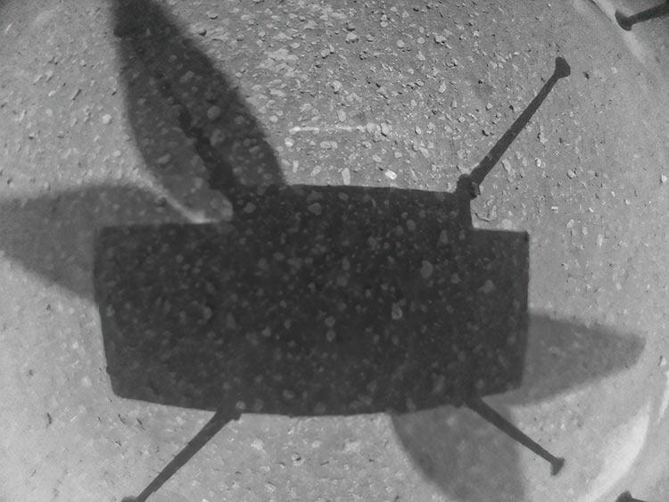 Фото, сделанное марсианским вертолётом прямо перед приземлением (NASA)