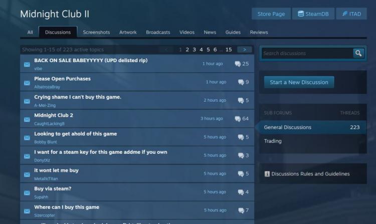 Темы на форуме Steam, связанные с Midnight Club 2