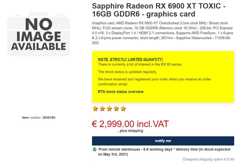 Sapphire Radeon RX 6900 XT Toxic Extreme в немецком Proshop
