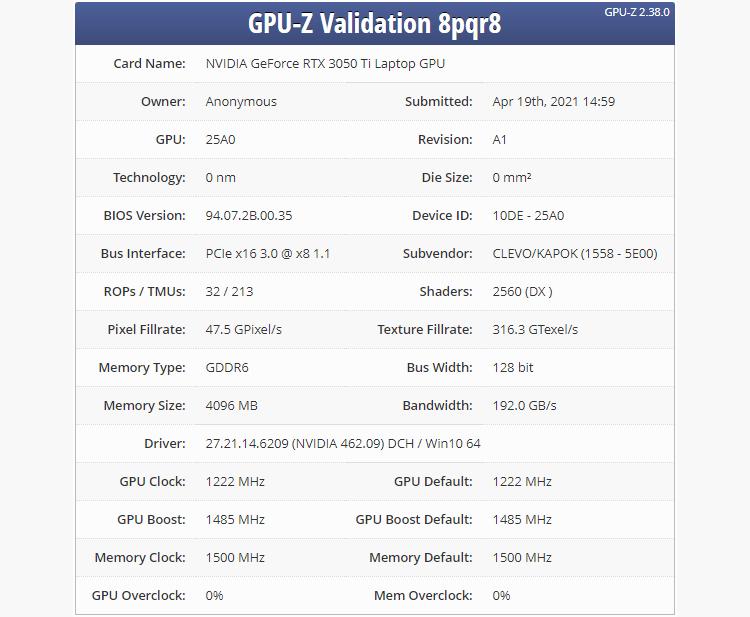 Раскрыты характеристики мобильной видеокарты NVIDIA GeForce RTX 3050 Ti— анонс ожидается в этом месяце
