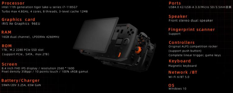 Представлена портативная консоль One Xplayer с процессором Tiger Lake и поддержкой внешних видеокарт