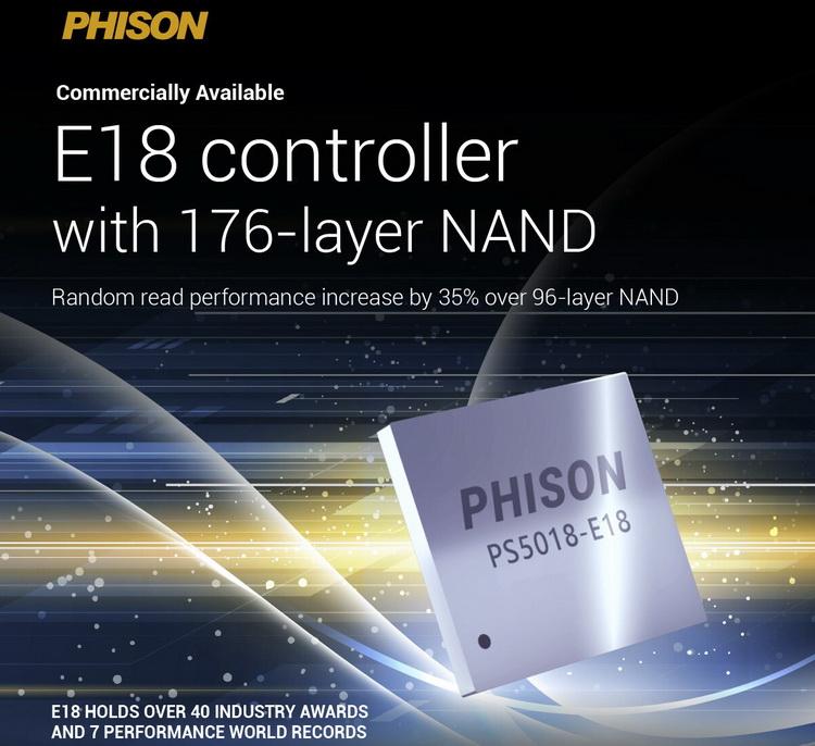 Скоро выйдут SSD с контроллером Phison E18 и новой 176-слойной флеш-памятью — скорость вырастет до 7400 Мбайт/с