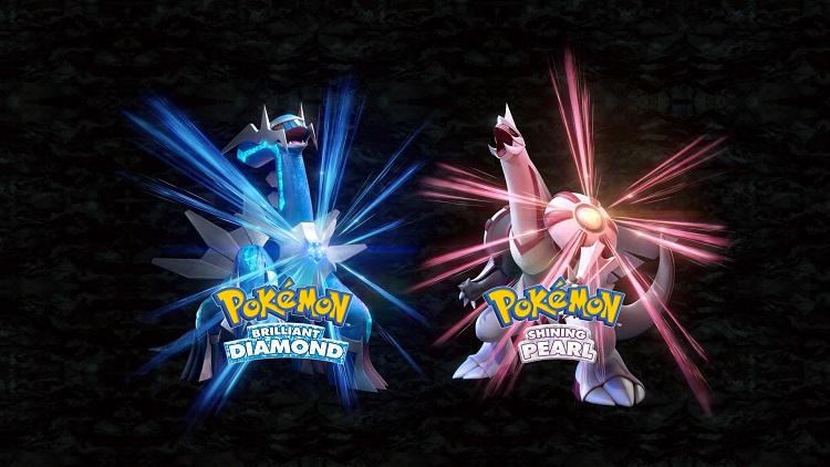 Концепт-арт легендарных покемонов для обложки ремейка Pokemon Brilliant Diamond (Диалга, слева) и Shining Pearl (Палкия, справа)