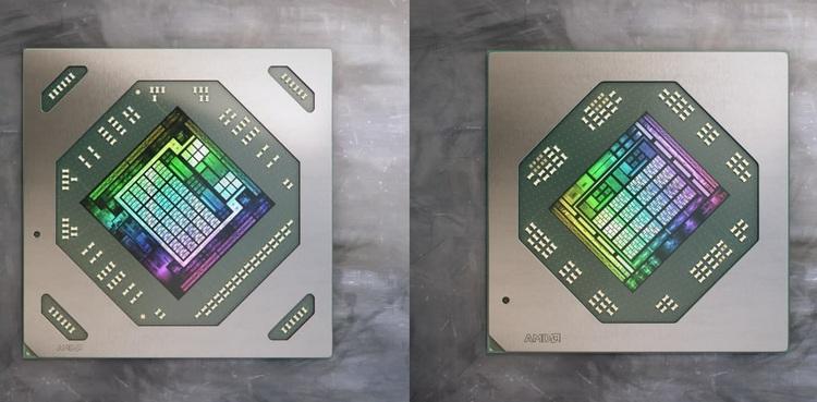Справа — GPU видеокарт Radeon RX 6700M и RX 6800M, слева — Radeon RX 6600M