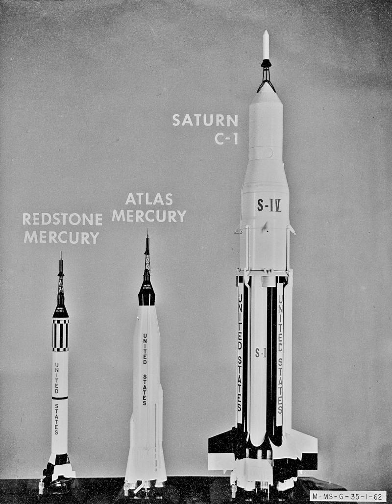 Ракета Saturn была на тот момент самым мощным из разрабатываемых космических носителей. Источник: https://ru.wikipedia.org/wiki/Файл:Early_Rocketry_Models_0501018.jpg
