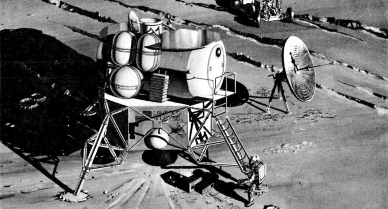Один из ранних вариантов «убежища» на основе грузового лунного модуля. Видны баллоны с водородом и кислородом для топливных элементов, наддува жилого отсека и перезарядки скафандров после выхода астронавтов в открытый космос. Рисунок NASA из документа Early Lunar Shelter Design and Comparison Study, Volume IV. Источник: https://falsesteps.wordpress.com/2016/09/30/the-early-lunar-shelter-stay-a-just-a-little-bit-longer/