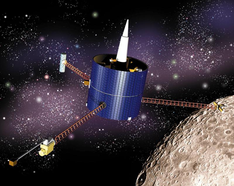 Автоматическая станция Lunar Prospector Orbiter (NASA) в представлении художника. Источник: https://ru.wikipedia.org/wiki/Lunar_Prospector
