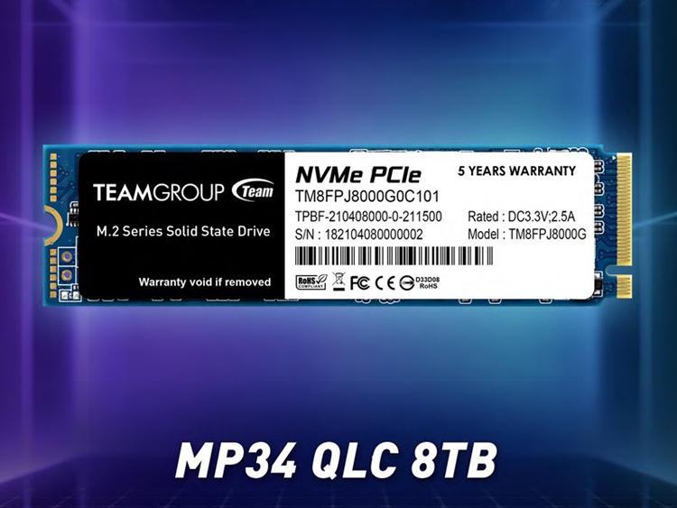 Team Group представила твердотельный накопитель MP34 QLC ёмкостью 8 Тбайт