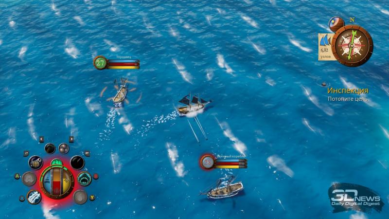Абордаж, важнейший аспект жизни любого корсара, не реализован даже в виде мини-игры. А вот лязг сабель почему-то всё равно доносится…