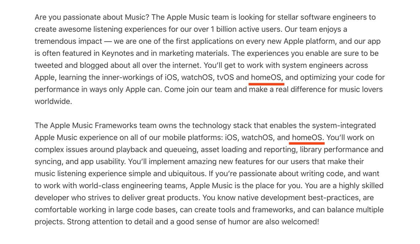 Apple засветила неанонсированную операционную систему homeOS  скорее всего, для HomePod