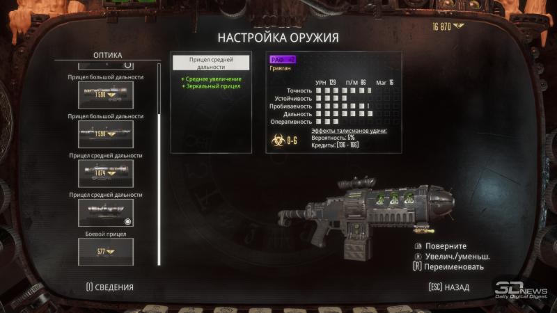 К оружию можно прикупить дополнительный обвес
