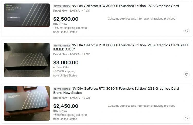 Американские спекулянты поступили аналогично российским — цены на GeForce RTX 3080 Ti подскочили до $2500 и выше1