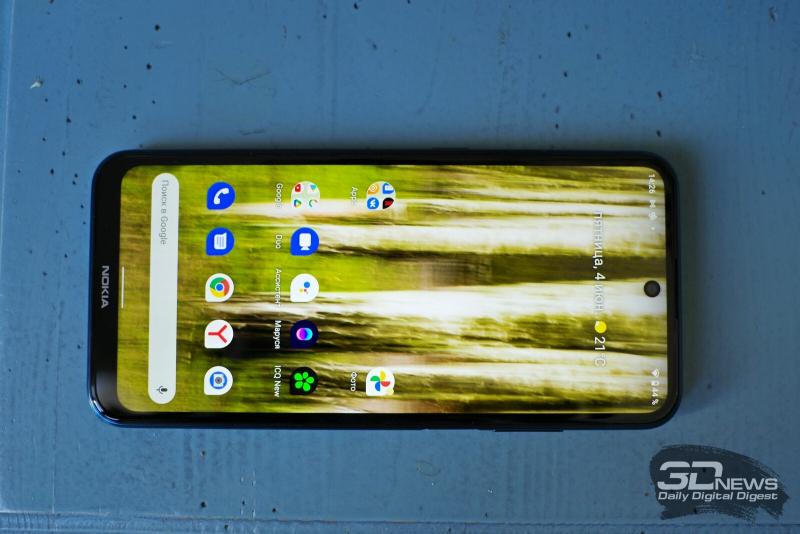 Nokia X20, лицевая панель: фронтальная камера в отверстии по центру, разговорный динамик под верхней кромкой